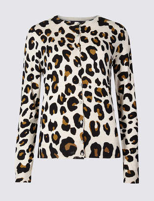 Marks and Spencer Animal Print Round Neck Cardigan