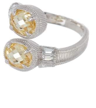 Judith Ripka Sterling Silver Mardi Gras Bypass Stone Ring - Size 7
