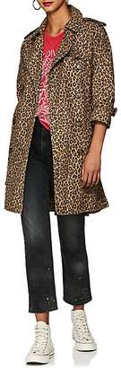 R 13 Women's Leopard-Print Cotton Trench Coat