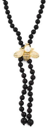 Cz Pearl Bee Black Pearl Necklace