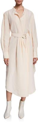 Rachel Comey Allium Belted Pintuck Shirt Dress
