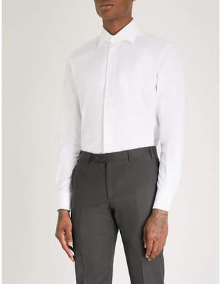 Corneliani Micro herringbone tailored-fit cotton shirt