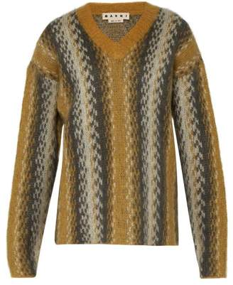 Marni Abstract Stripe Mohair Blend Sweater - Mens - Yellow Multi