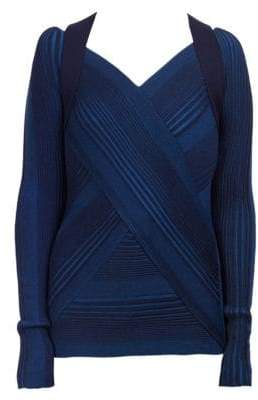 Cédric Charlier Virgin Wool Striped Strap-Detail Sweater
