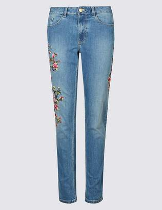 Marks and Spencer Floral Embroidered Mid Rise Jeans