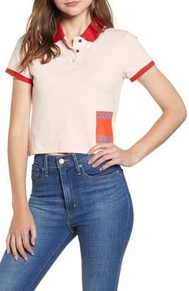 Calvin Klein Jeans Crop Stretch Cotton Polo Shirt