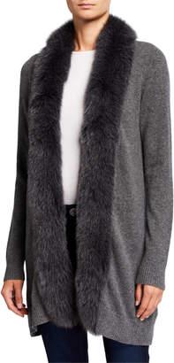 Neiman Marcus Cashmere Cardigan with Fox Fur Trim