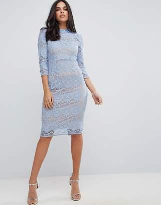 Forever Unique Lace High Neck Midi Pencil Dress