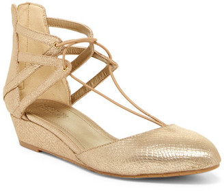 Kenneth Cole Reaction Why Not Reptile-Embossed Wedge Lace Sandal $79 thestylecure.com