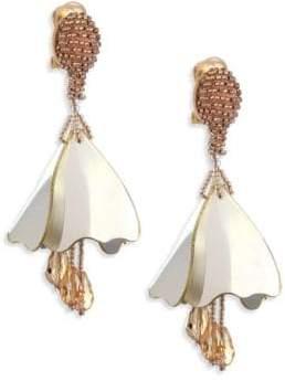 Oscar de la Renta Mini Impatiens Flower Metallic Clip-On Earrings