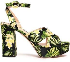 Gianvito Rossi Roxy Floral-print Satin Platform Sandals