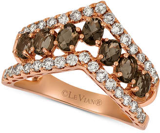 LeVian Le Vian Smoky Quartz (9/10 ct. t.w.) & Nude Diamond (5/8 ct. t.w.) Chevron Statement Ring in 14k Rose Gold