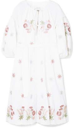 Innika Choo Smocked Embroidered Linen Dress - White