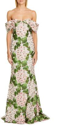 Badgley Mischka Couture Off the Shoulder Floral Embellished Gown