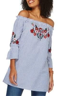 Dorothy Perkins Embroidered Floral Stripe Tunic