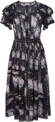 LoveShackFancy Claribel Floral Silk Midi Dress