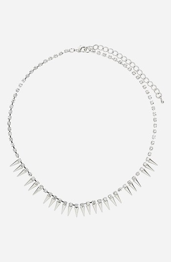 Topshop Rhinestone Chain Necklace Crystal