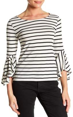 Susina Striped 3/4 Length Ruffle Sleeve T-Shirt (Regular & Petite)