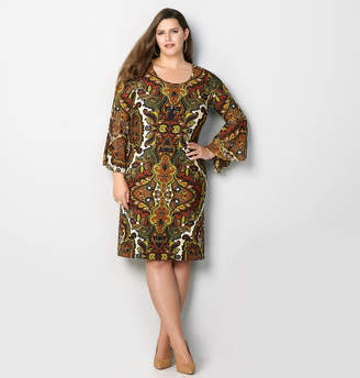Avenue Bohemian Paisley Bell Sleeve Sheath Dress