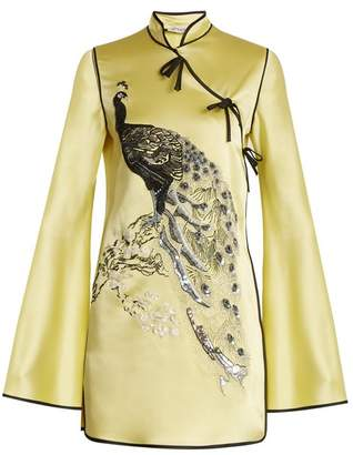ATTICO Elena Peacock Embroidered Satin Mini Dress - Womens - Yellow Multi