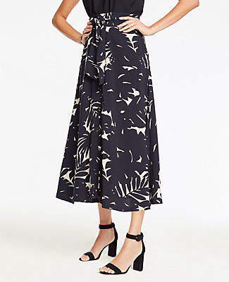 Ann Taylor Midnight Jungle Tie Waist Maxi Skirt