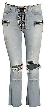 Unravel Project Women's Distressed Lace-Up Flare Jeans