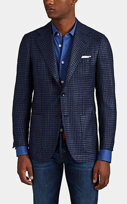 Kiton Men's Houndstooth Cashmere-Silk Two-Button Sportcoat - Navy