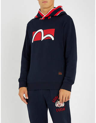 Evisu Boxed-logo cotton-jersey hoody