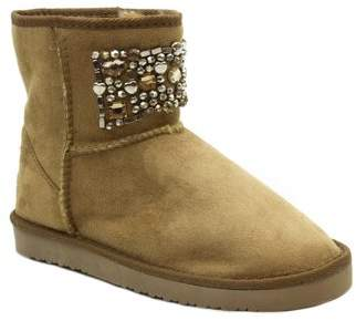 BLUE SUEDE SHOES Blue Women's 'Ugena Gogo' Mid Calf Suedette Pull On Boots-CAMEL-7