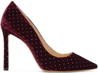 Jimmy Choo Burgundy Spotted Romy 100 Heels