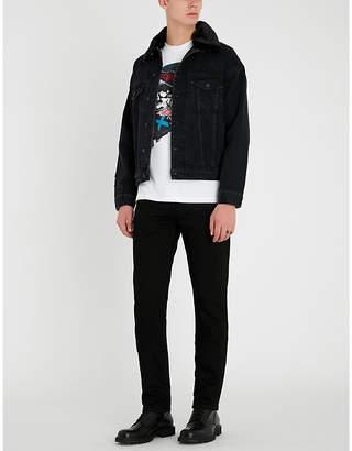 The Kooples Slim-fit faux-fur collar denim jacket