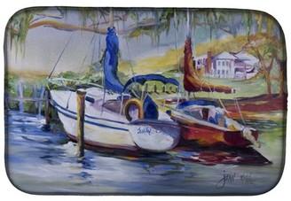 Caroline's Treasures Lucky Dream Sailboat Dish Drying Mat