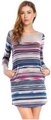 Lintimes Womens Casual Tribal Striped Long Sleeve T Shirt Dress with Side Pockets Color:Blue Size:XL