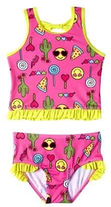 Pink Platinum Baby Toddler Girl Emoji Tankini Swimsuit