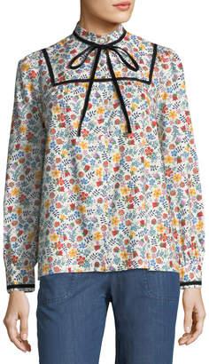 A.P.C. Abott Floral Tie-Neck Blouse