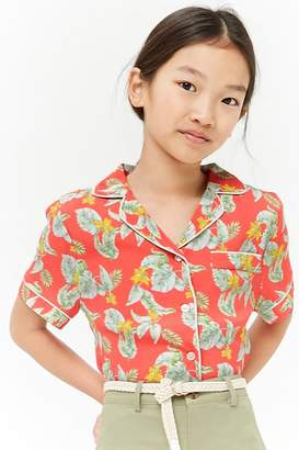 Forever 21 Girls Floral Print Shirt (Kids)