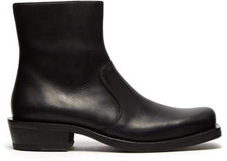 Acne Studios Square Toe Leather Ankle Boots - Mens - Black