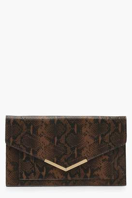 boohoo Snake Painted Edge & Bar Clutch