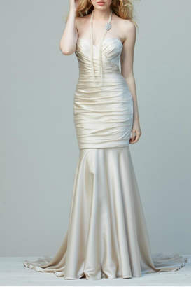 Watters Sweetheart Satin Mermaid Gown