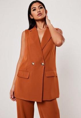 Missguided Terracotta Co Ord Long Sleeveless Horn Button Blazer, Rust Orange
