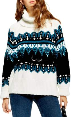 Topshop Sequin Oversize Fair Isle Sweater