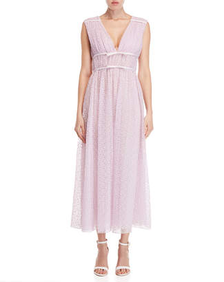 Giambattista Valli Pink Plunging V-Neck Lace Gown