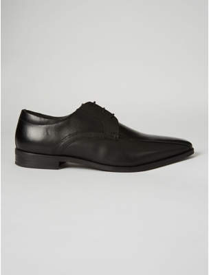 George Black Leather Lace Up Textured Oxford Shoes