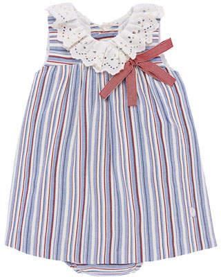 Carrera Pili Eyelet-Collar Striped Dress w/ Matching Bloomers, Size 12M-3