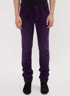 Saint Laurent Slim-Fit Corduroy Pants in Purple