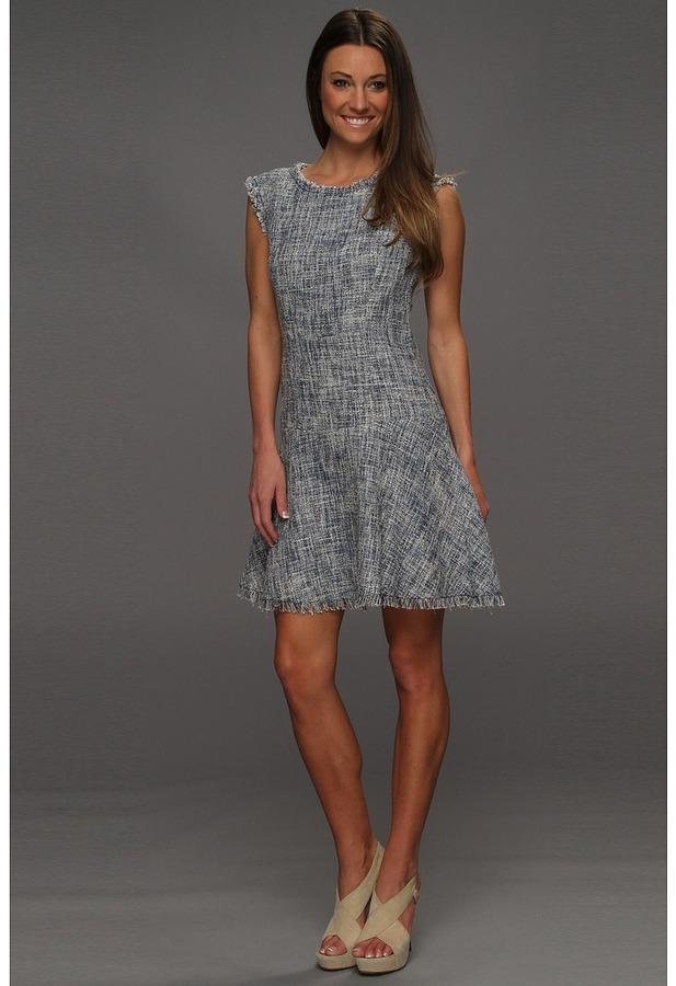 Rebecca Taylor Frayed Fit Flare Dress (Navy) - Apparel