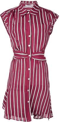 Derek Lam 10 Crosby Short Sleeve Ramie Striped Shirt Dress with Twist Waist Detail