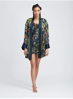 Oscar de la Renta Toucan Jungle Silk-Charmeuse Robe