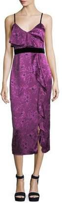 Cinq à Sept Lara Sleeveless Floral-Print Satin Cocktail Dress w/ Velvet Trim