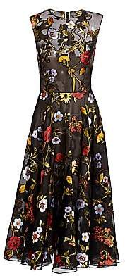 Oscar de la Renta Women's Ikat Floral-Embroidered Tulle A-Line Dress